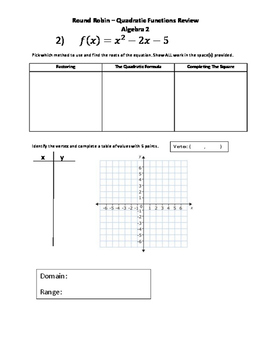 Quadratic Functions Review Activity