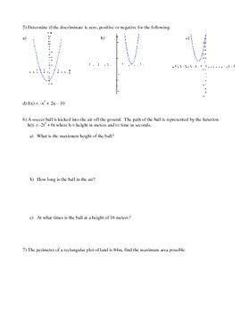 Quadratic Functions Review Assignment
