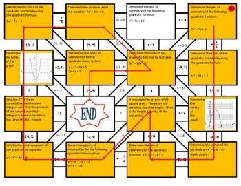 Quadratic Functions Review Maze Worksheet