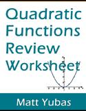 Algebra Quadratic Functions Review Worksheet – Roots, Chan