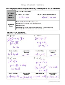 Quadratic Equations: Square Root Method Lesson