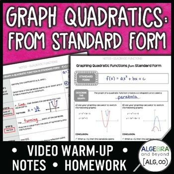 Quadratic Functions Standard Form Lesson By Algebra And Beyond Tpt