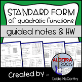 Quadratic Functions: Standard Form (Guided Notes & Assessment)
