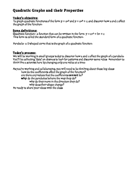 Quadratic Functions - Standard Form Investigation