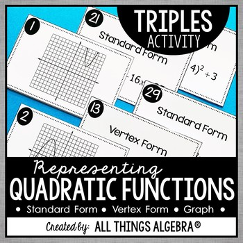 Quadratic Functions Standard Form Vertex Form And Graphs Triples
