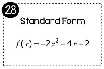 Quadratic Functions (Standard Form, Vertex Form, and Graphs) Triples Activity