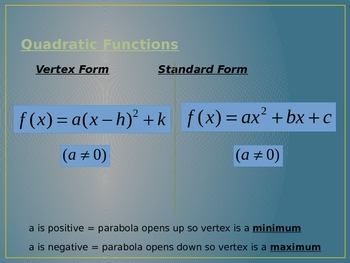 Quadratic Functions - Standard & Vertex Form