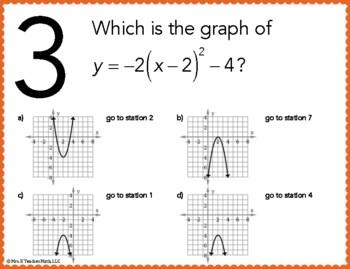 Quadratic Functions Stations Maze