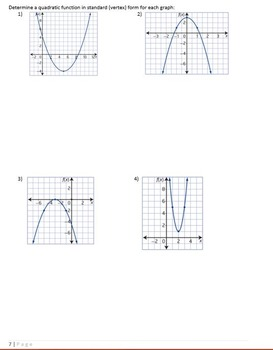Quadratic Functions Student Notes