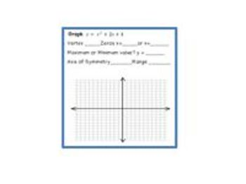 Quadratic Functions - Mid Chapter Study Guide