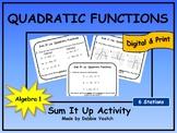 Quadratic Functions Sum It Up Activity