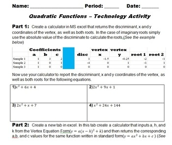 Quadratic Functions - Technology Activity
