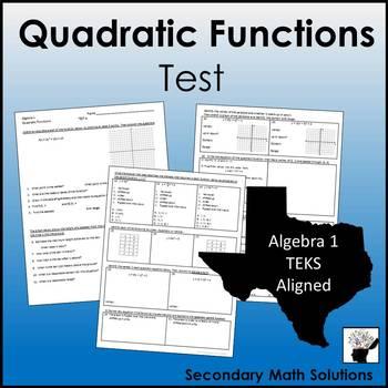 Quadratic Functions Test (A7A, A6B, A6C, A6A, A7C)
