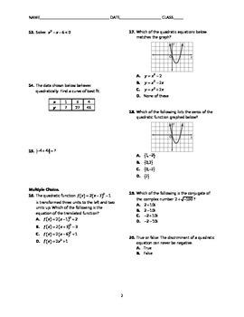 Quadratic Functions Test BUNDLE