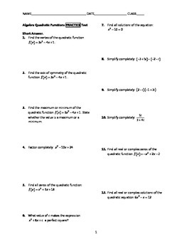 Quadratic Functions Test BUNDLE