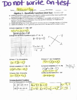 Quadratic Functions Test with Answer Key
