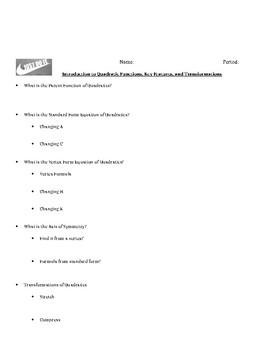 Quadratic Functions Transformation Investigation