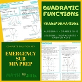 Quadratic Functions Transformations Lesson + Worksheet + A