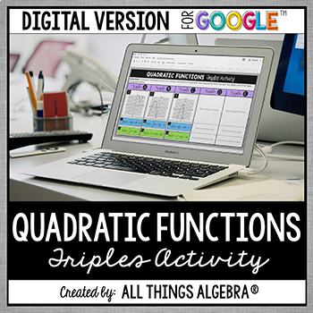 quadratic functions triples activity digital version for google
