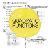 QUADRATIC FUNCTIONS Unit Test CC Algebra 1