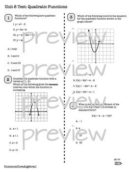 QUADRATIC FUNCTIONS Unit Test CC Algebra 1