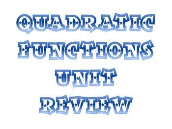 Quadratic Functions Unit Review Activity