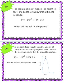 Quadratic Functions Unit Review Task Cards