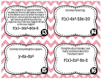 Quadratic Functions Unit Review Task Cards With or without QR Codes!
