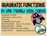 Algebra 1 Quadratic Functions Unit Review Task Cards With