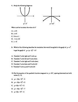 Quadratic Functions Unit Test with FULL SOLUTIONS