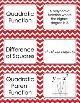 Quadratic Functions Unit: VOCABULARY ACTIVITIES