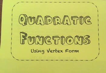 Quadratic Functions Vertex Form