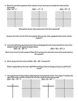 Quadratic Functions Vertex Form Discovery