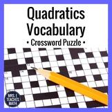 Quadratic Functions Vocabulary Crossword Puzzle