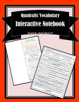 Quadratic Functions - Vocabulary Foldable
