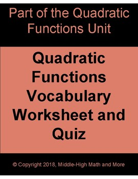 Quadratic Functions Vocabulary Worksheet and Quiz - Printable and DIGITAL