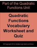 Quadratic Functions Vocabulary Worksheet and Quiz - Printa