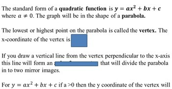 Quadratic Functions Vocabulary and Concept Review Activities