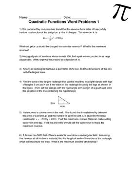 Quadratic Functions Word Problems