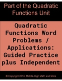 Quadratic Functions Word Problems / Applications For Begin