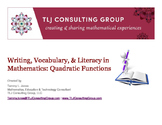 Writing, Vocabulary & Literacy in Mathematics: Quadratic F