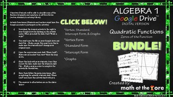 Quadratic Functions - Zeros of the Function - BUNDLE! - Google Slides
