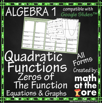 Quadratic Functions - Zeros of the Function - Equations & Graphs - GOOGLE Slides