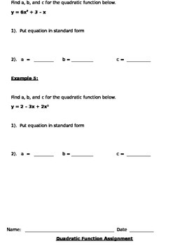 Quadratic Functions and Graphing Notes and Assignments