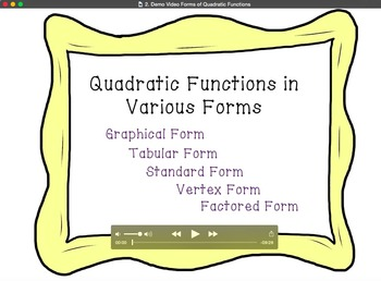 Quadratic Functions in Various Forms