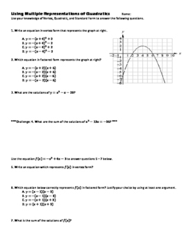 Quadratic Functions in Vertex Form, Factored Form, and Standard Form