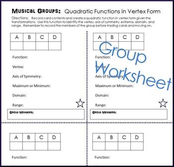 Quadratic Functions in Vertex Form Musical Groups