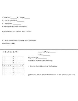 Quadratic Functions worksheet