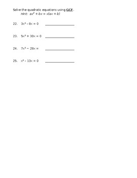 Quadratic Functions_Solve, Write Equations