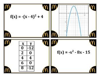 Quadratic Funtionn Card Matching Activity